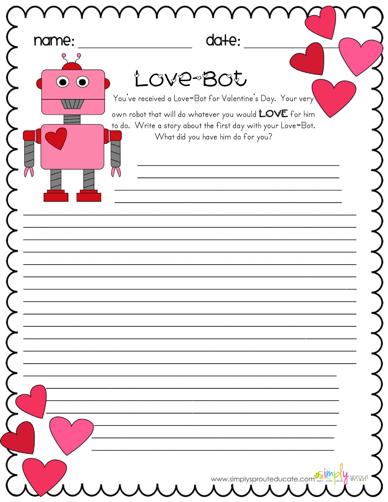 Elegant Simple Valentines Day Writing Activity for Kids Collections