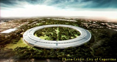 Spaceship-Like Apple Campus in Cupertino