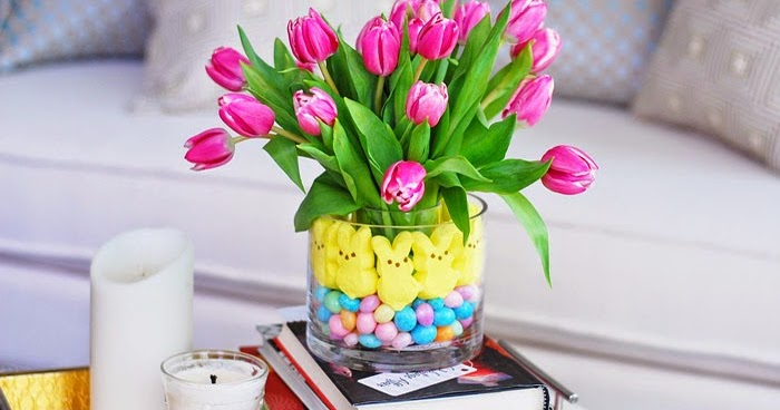 Glamvolution easter centerpiece tulips peeps jelly beans