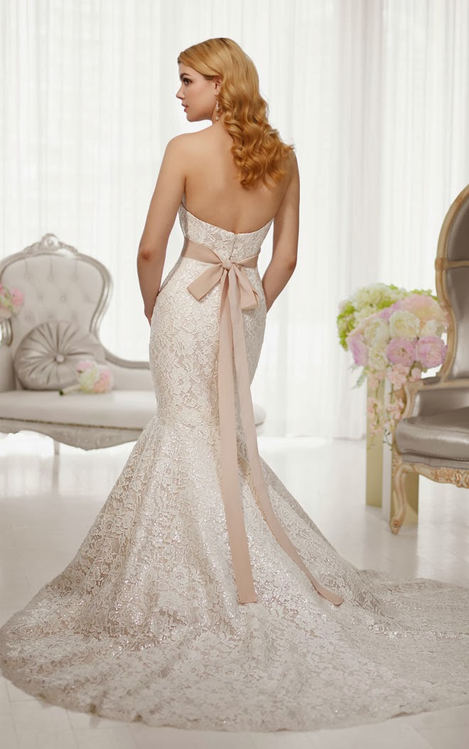 Essense Strapless Sweetheart Trumpet Silhouette Lace and Satin Wedding Dress
