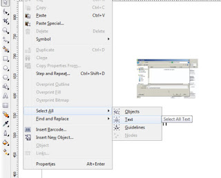 select all teks pada corel draw