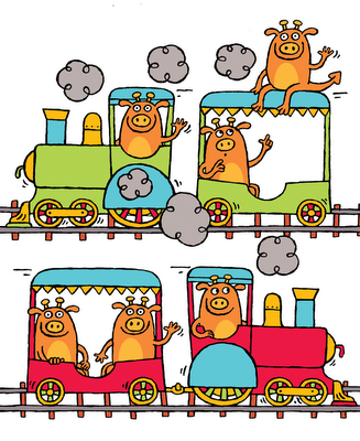 Illustration of six silly monsters on a train from my ebook for kids