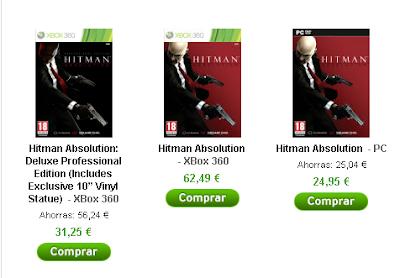 Precios de Hitman Absolution Professional en zavvi.es para Xbox 360