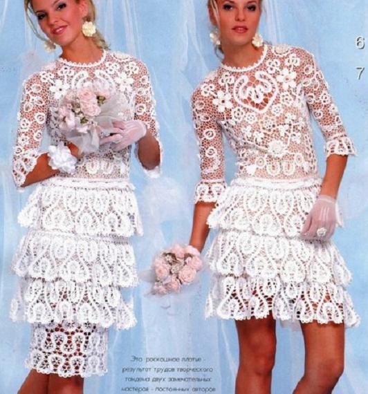 As Receitas de Crochê: Vestido de Noiva curto em crochê