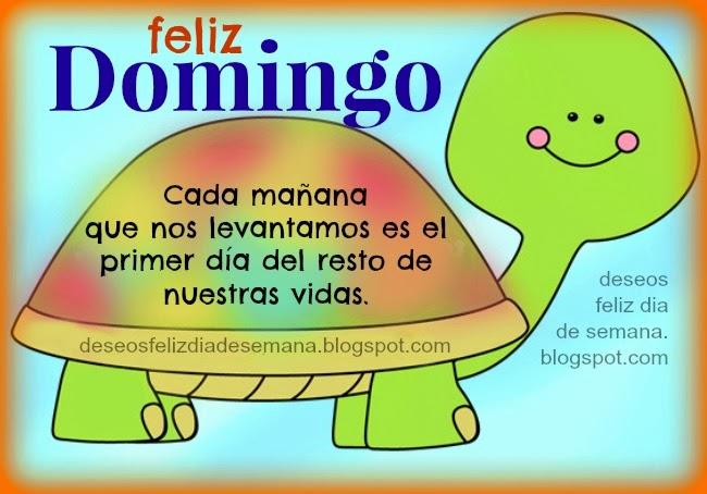 Feliz Domingo. Hoy es el primer día del resto de tu vida. Tarjetas, imágenes de feliz día domingo. Saludos facebook.