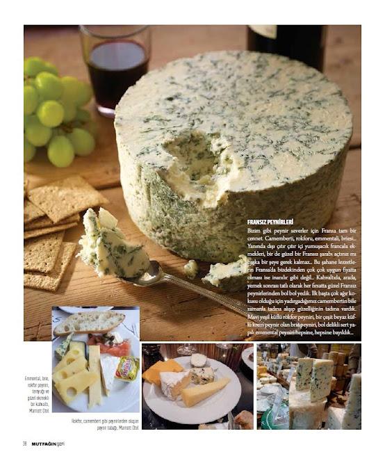 Rokfor, camembert, brie, Fransız peynirleri şahane, Paris Lezzetleri, Mutfağın Şefi dergisi