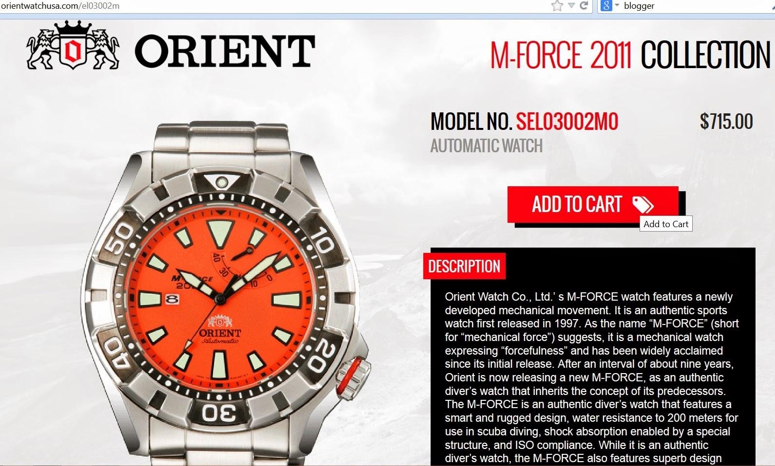 C segment wrist watches orient m force automatic model for Orient mobel