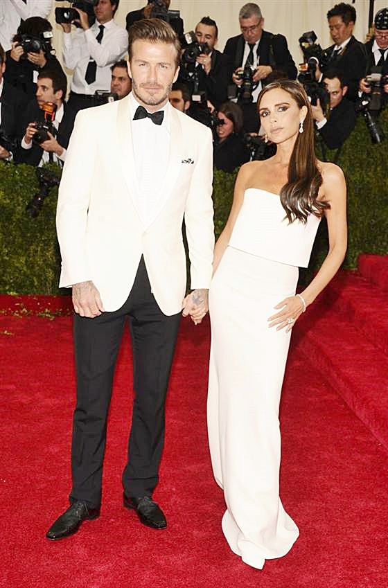 Fashionable Couples at the 2014 Met Gala Victoria Beckham in her own creation and David Beckham in Ralph Lauren