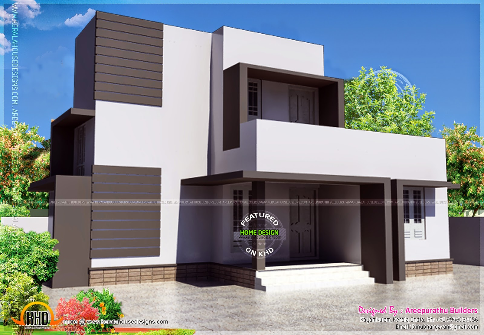 Simple modern house in 88 square meter kerala home for Minimalist house design kerala