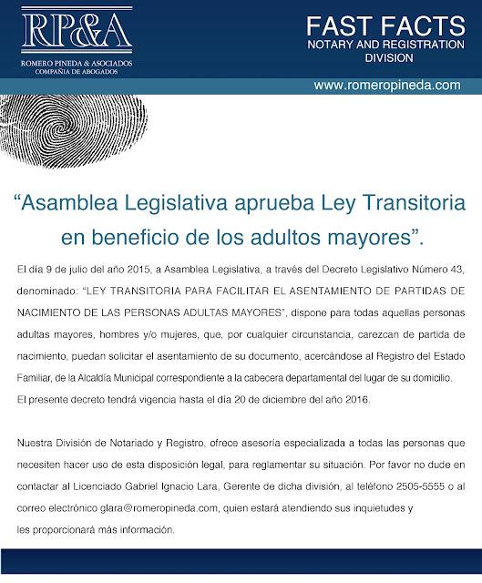 LEY TRANSITORIA PARA FACILITAR EL ASENTAMIENTO DE PARTIDAS DE ...