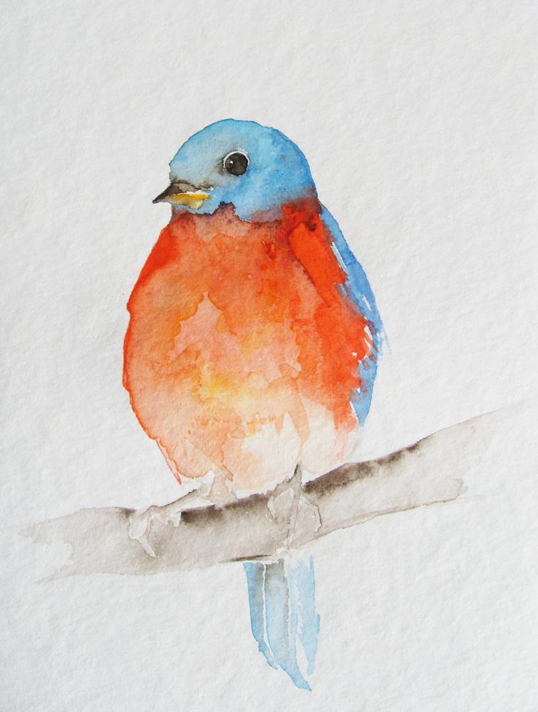 Птицы акварель поэтапно
