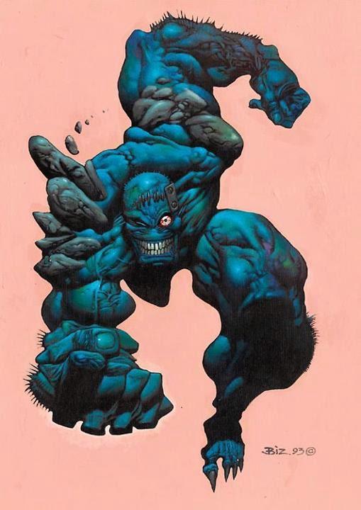 Dessin de Simon Bisley représentant une monstre bleu courant