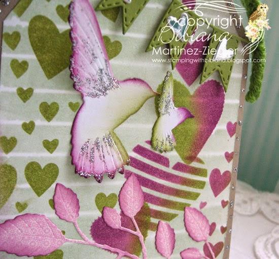 feminine tag with heart stencils detail hummingbirds