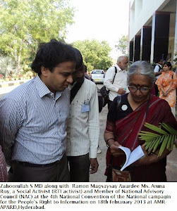 Zahoorullah S MD along with Ramon Magsaysay Awardee Aruna Roy