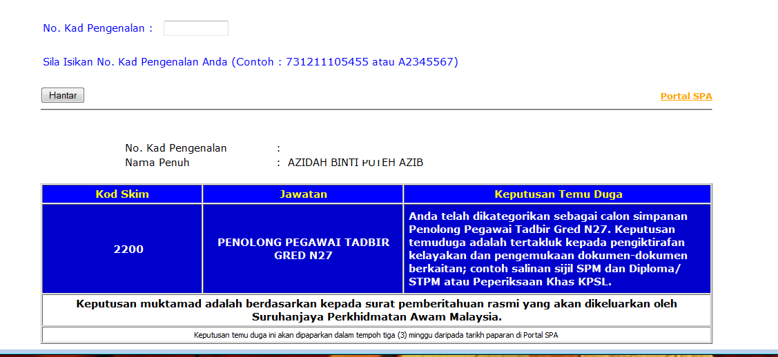 Keputusan Temuduga Penolong Pegawai Tadbir N27 Aziazidah