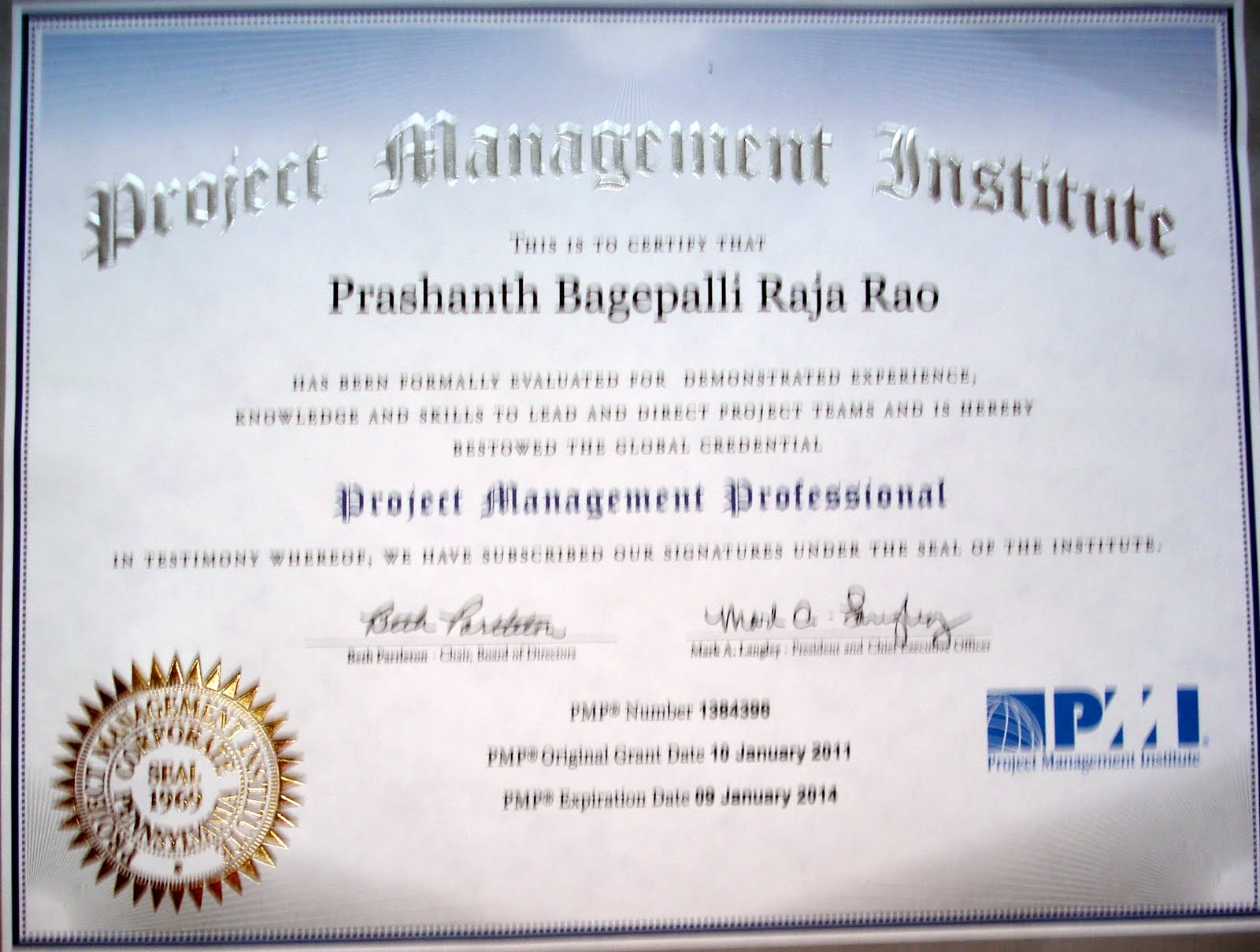Pmp certified punarnava new again on jan 10th i passed my pmp certification exam on first attempt i started preparing in sept 2010 with the 4 day mandatory course at pmi 1betcityfo Gallery