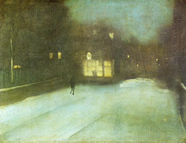 """Nocturne in Grey and Gold - Chelsea Snow"" James McNeill Whistler (1876) oil painting, winter night, winter evening, outside looking in, warm glow"