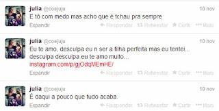 Júlia Rebeca avisa em seu twitter que pretendia cometer suicidio