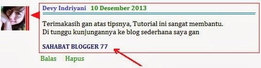 Gambar Kolom Komentar Dengan Link Aktif
