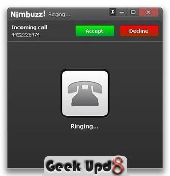 Step 6. Receive calls in Nimbuzz on USA based phone number