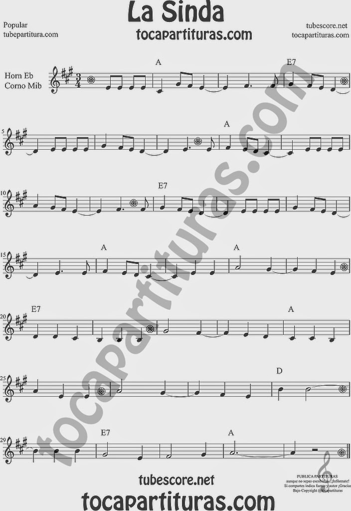 La Sinda Partitura de Trompa y Corno Francés en Mi bemol Sheet Music for French Horn Music Scores