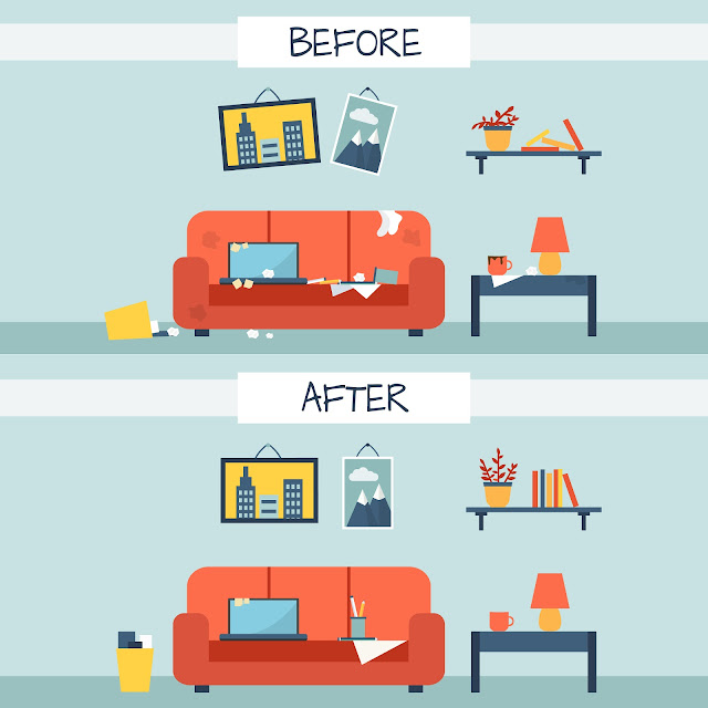 ilustração antes e depois sala bagunçada e depois organizada