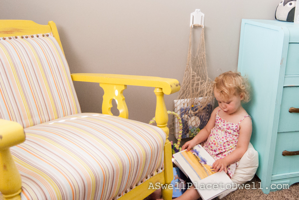 Quick Kids Reading Nook with Baba Souk.  www.aswellplacetodwell.com