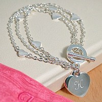 Personalized Silver Triple Strand Charm Bracelet