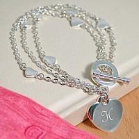 Personalized Silver Triple Strand Charm Bracelet