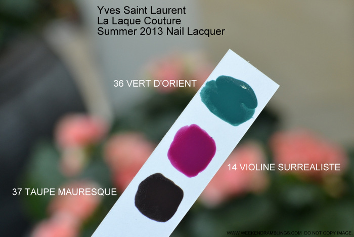 YSL Summer 2013 Makeup Collection - La Laque Couture Nail Lacquer Polish - Swatches - 14 Violine Surrealiste - 36 Vert DOrient - 37 Taupe Mauresque