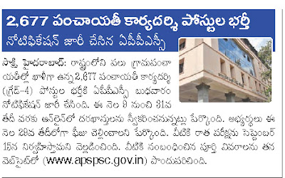 Panchayat Secretary Notification in AP 2013