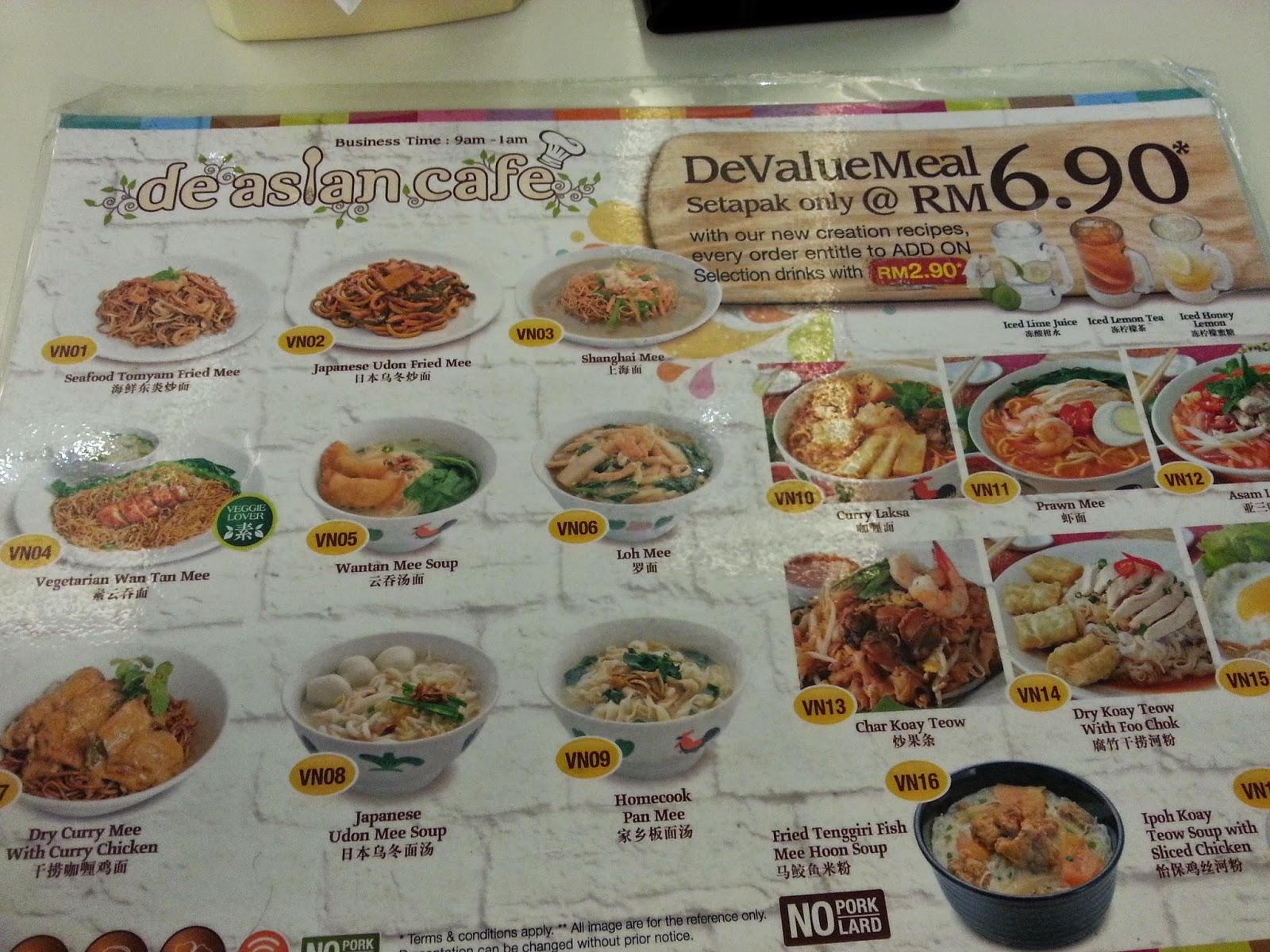 De Asian Cafe Platinum Walk Setapak Weekend Treat