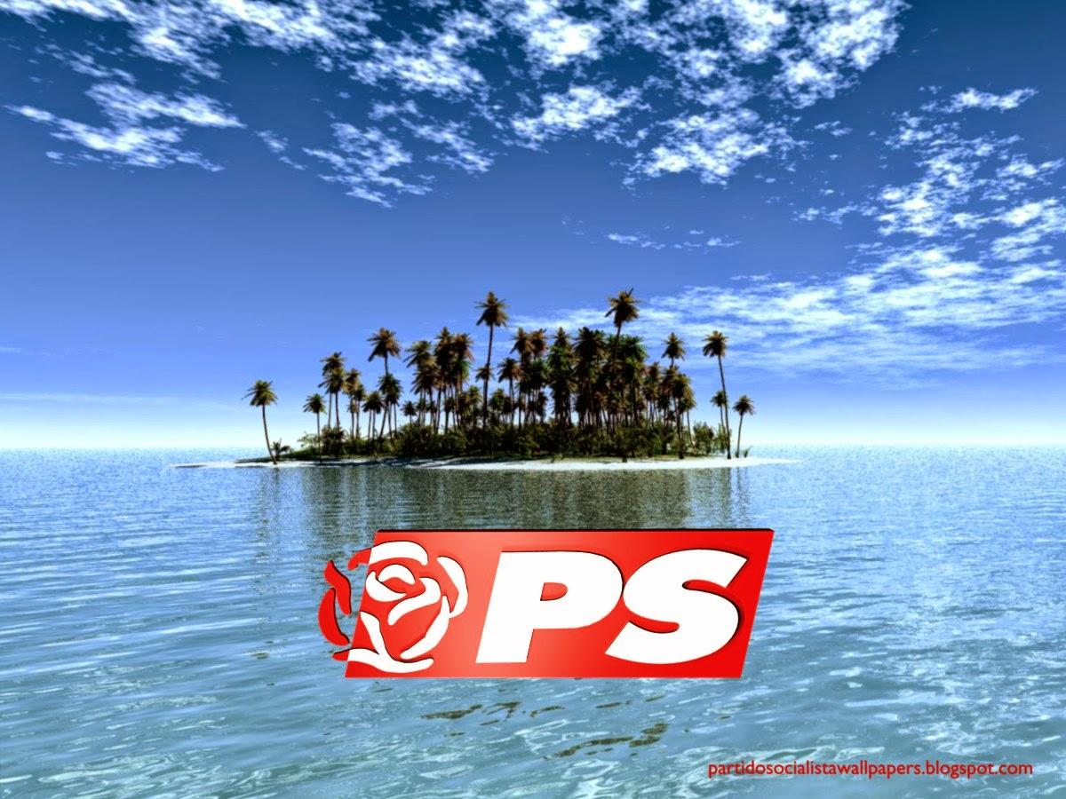 Logotipo da Rosa PS frontal em fundo de tela Ilha Paradisíaca para utilizar como fundo de tela do seu ambiente de trabalho