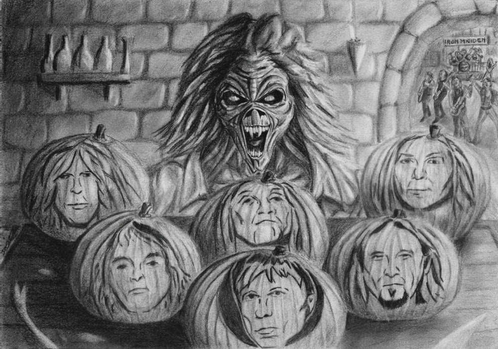 Iron Maiden Pumpkins and Eddie: Original A4 size pencil drawing by Dean Sidwell