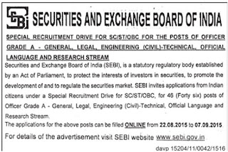 Applications are invited for various postings in special recruitment driver programme for SC / ST and OBC candidates