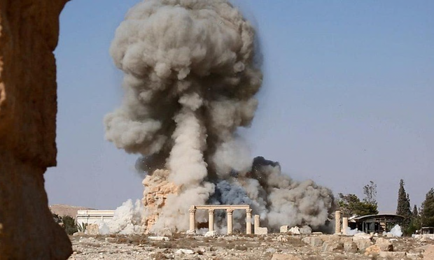 The moment of destruction -- Temple of Baal Shamin in the Syrian city of Palmyra