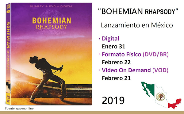 """BOHEMIAN RHAPSODY"" 31 ENERO DIGITAL / 22 FEBRERO DVD/Blu-ray"
