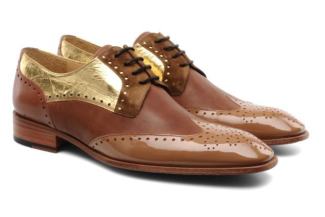 Brown and gold brogues, power flats