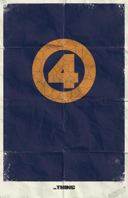 marko manev ilustração poster minimalista super heróis marvel Coisa