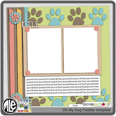 "Free scrapbook layout ""Oh My Dog"" from Scraps By The Brush"