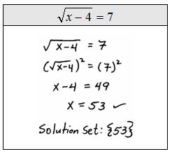 Worksheets Solving Radical Equations openalgebra com solving radical equations solve
