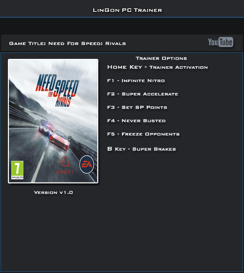 Need For Speed Rivals Trainer +6 [LinGon]