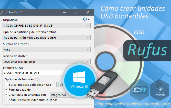 crear disco de inicio windows 7 usb