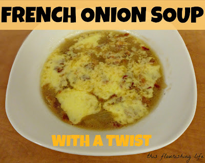 French Onion Soup With A Twist - delicious, crispy bacon