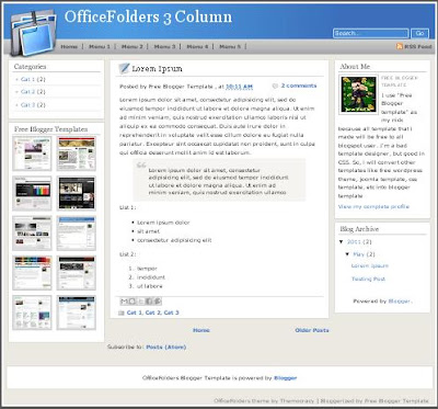 OfficeFolders 3 Column Blogger Template