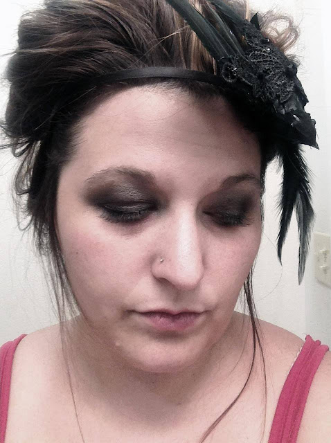 hair, makeup, Halloween, costume, raven, fascinator, gothic, victorian, Edgar Allen Poe