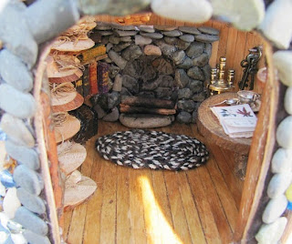 dollhouse wood floors and fireplace