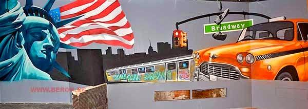Decoración mural de restaurante americano