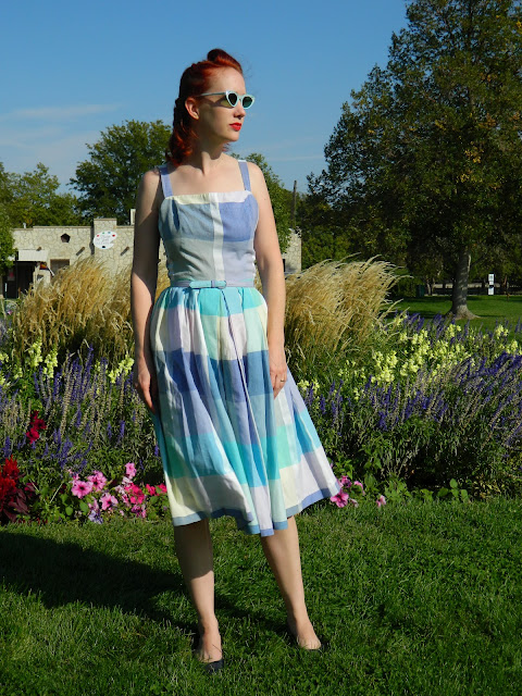 1950s 1960s plaid belted sundress cateye glasses summer vintage Just Peachy, Darling