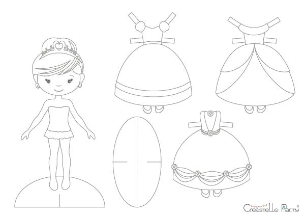 créastelle party - poupée en papier princesse - princess paper doll